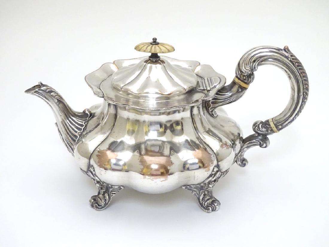 A 19thC Old Sheffield Plate teapot with engraved - 3