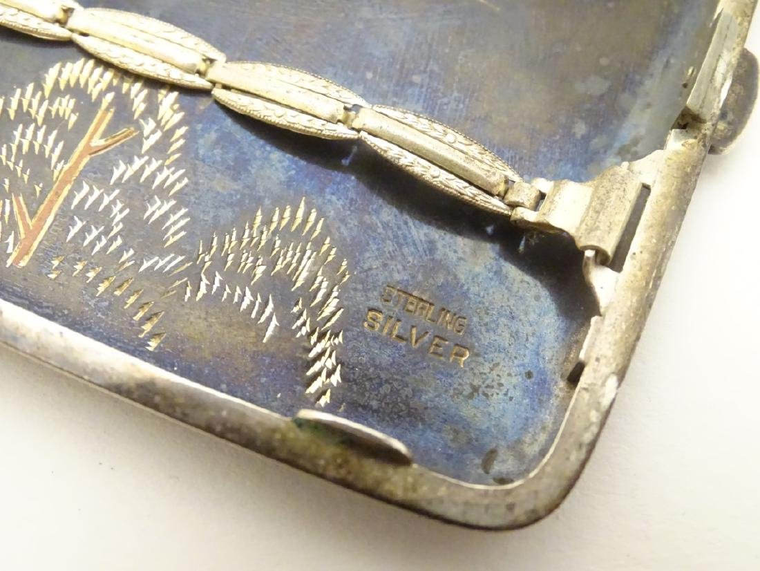 A vintage Japanese Amita ware cigarette case with - 2