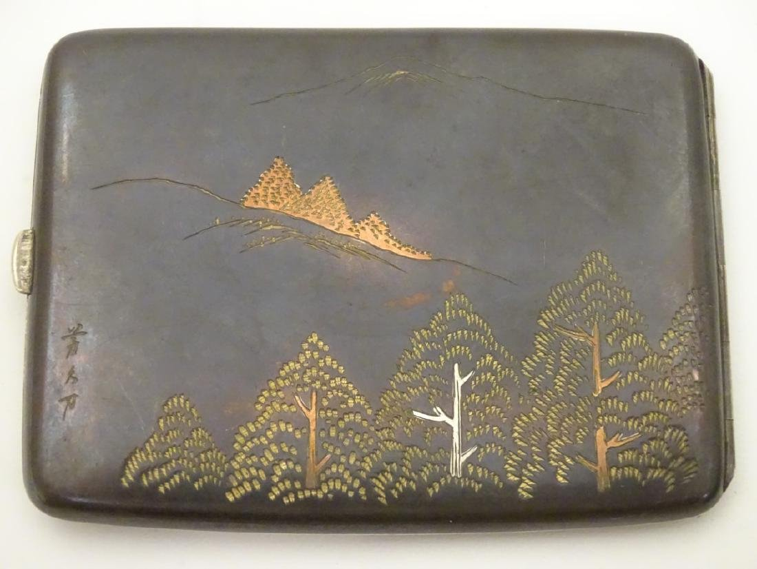 A vintage Japanese Amita ware cigarette case with - 4