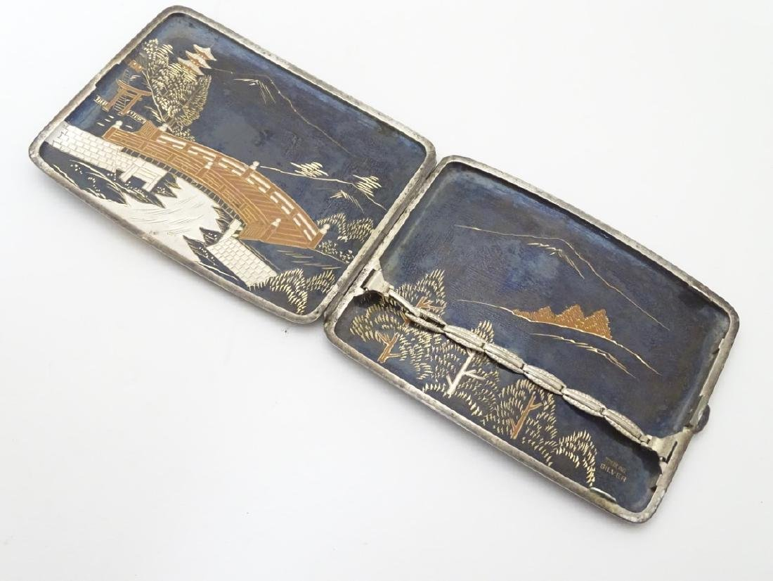A vintage Japanese Amita ware cigarette case with - 5