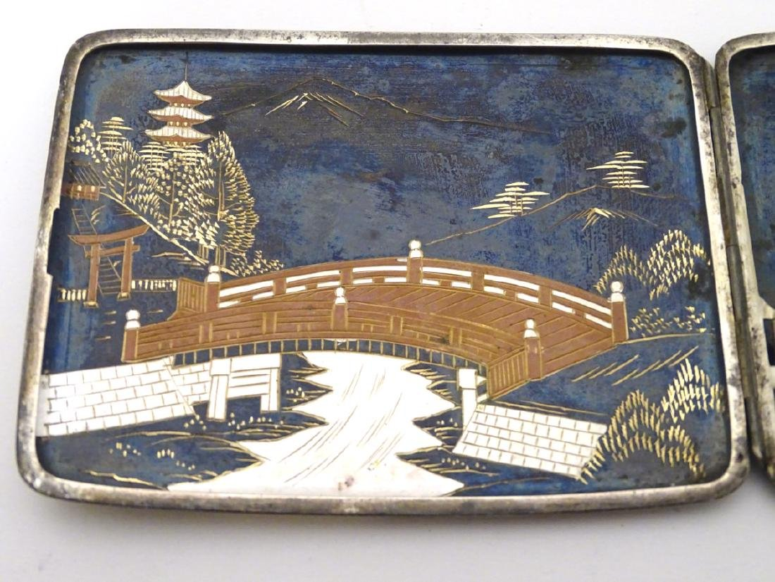 A vintage Japanese Amita ware cigarette case with - 6