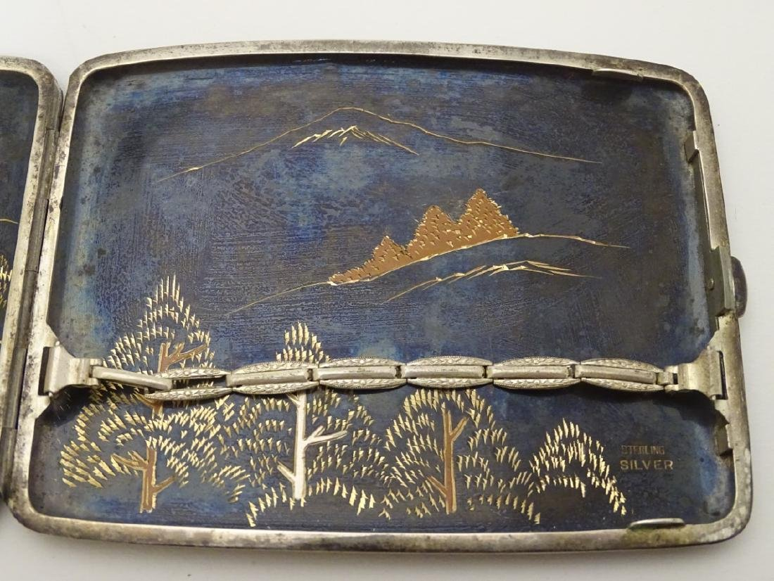 A vintage Japanese Amita ware cigarette case with - 7