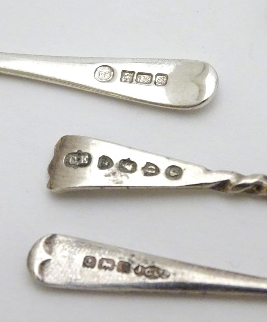 Assorted silver salt and mustard spoons including a - 5
