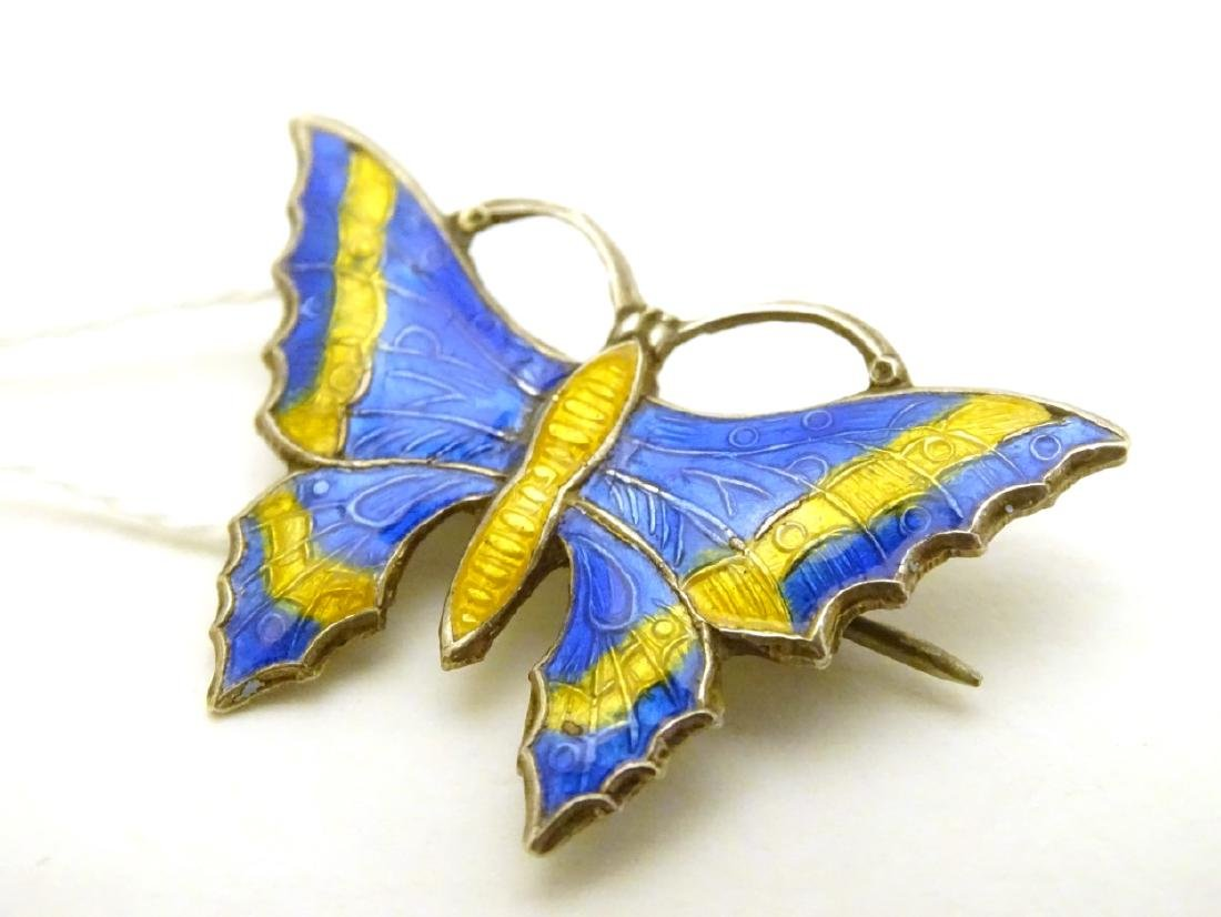 A  Silver brooch formed as a butterfly with enamel - 2