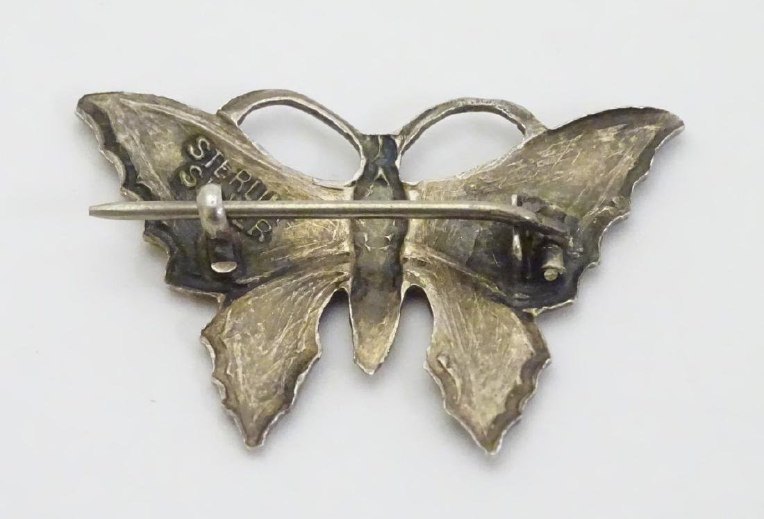 A  Silver brooch formed as a butterfly with enamel - 3