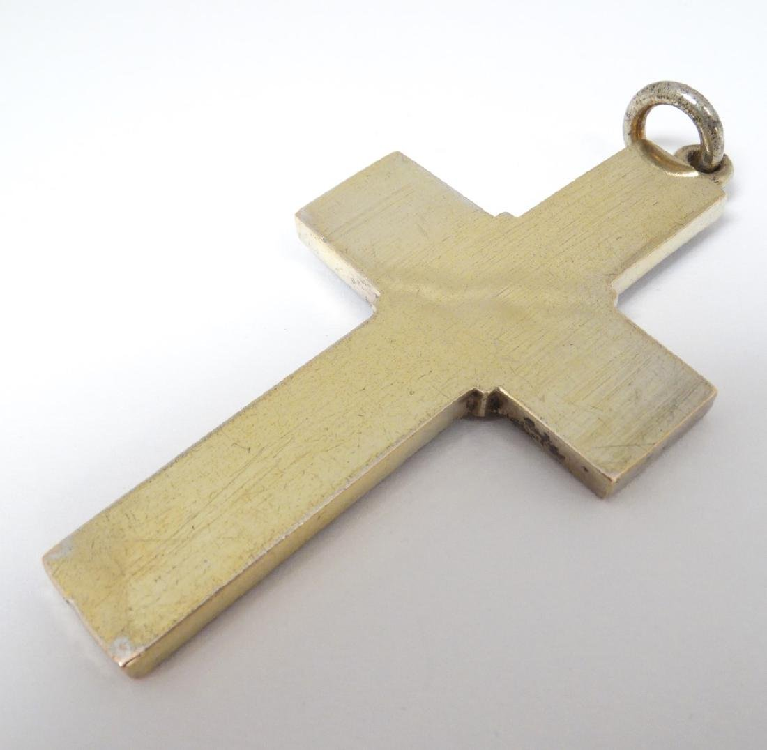 A white metal cross / crucifix  with cast religious - 2