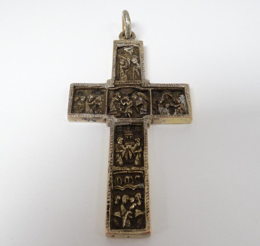 A white metal cross / crucifix  with cast religious - 4