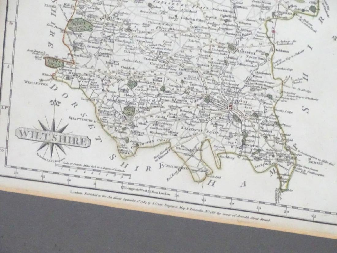 Maps: A framed, hand coloured county map of - 10
