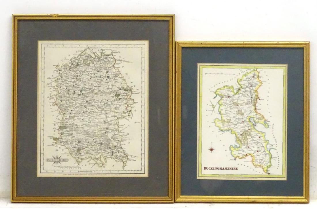 Maps: A framed, hand coloured county map of