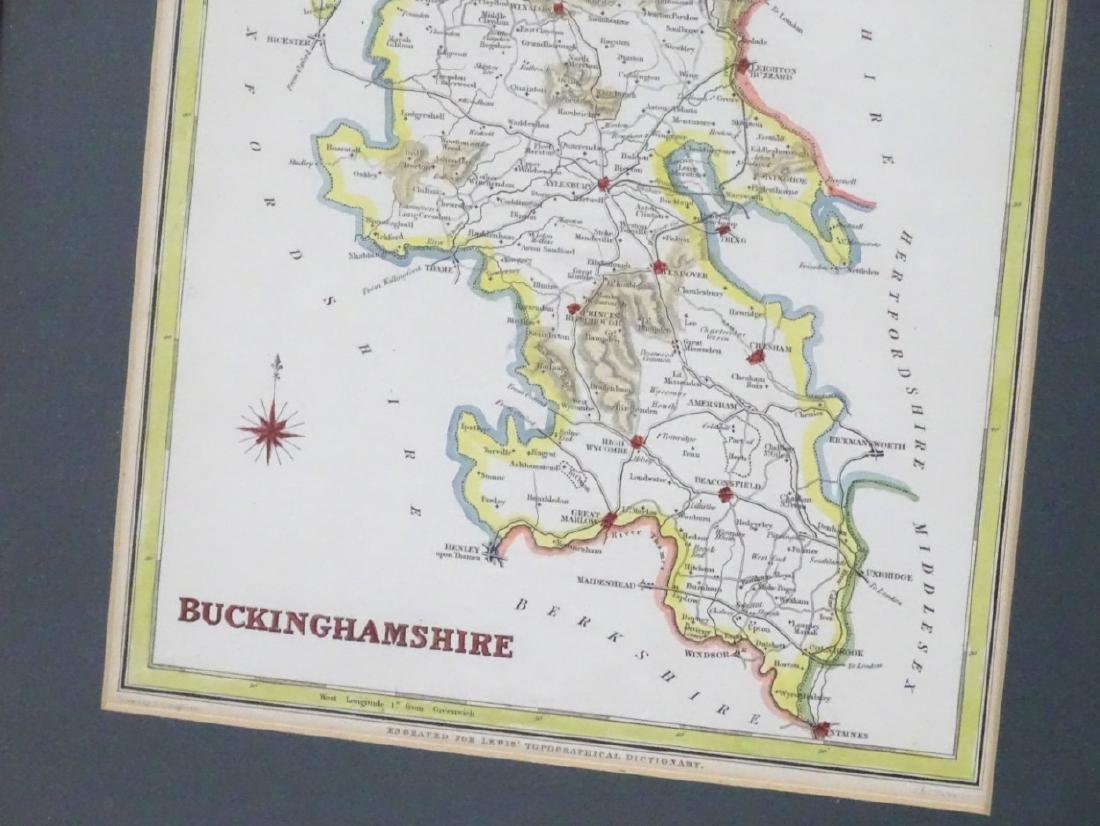 Maps: A framed, hand coloured county map of - 3