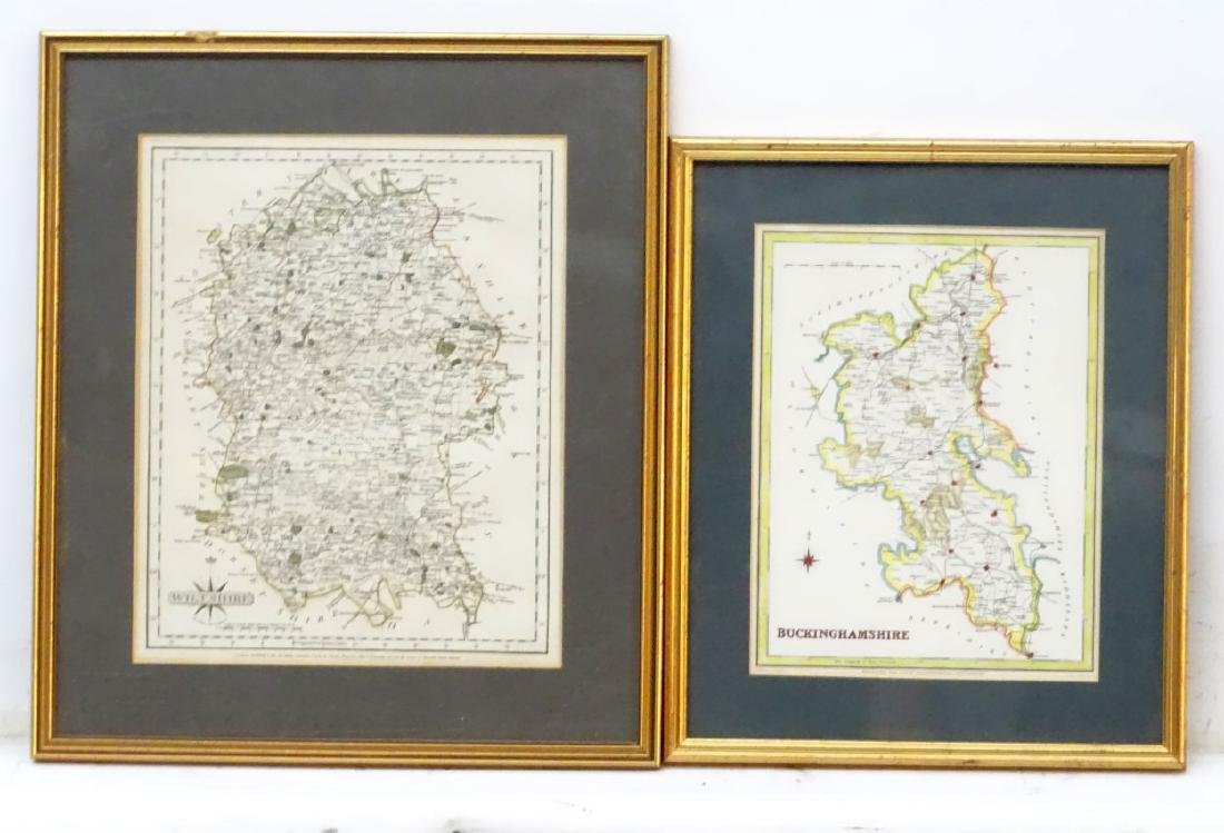Maps: A framed, hand coloured county map of - 6