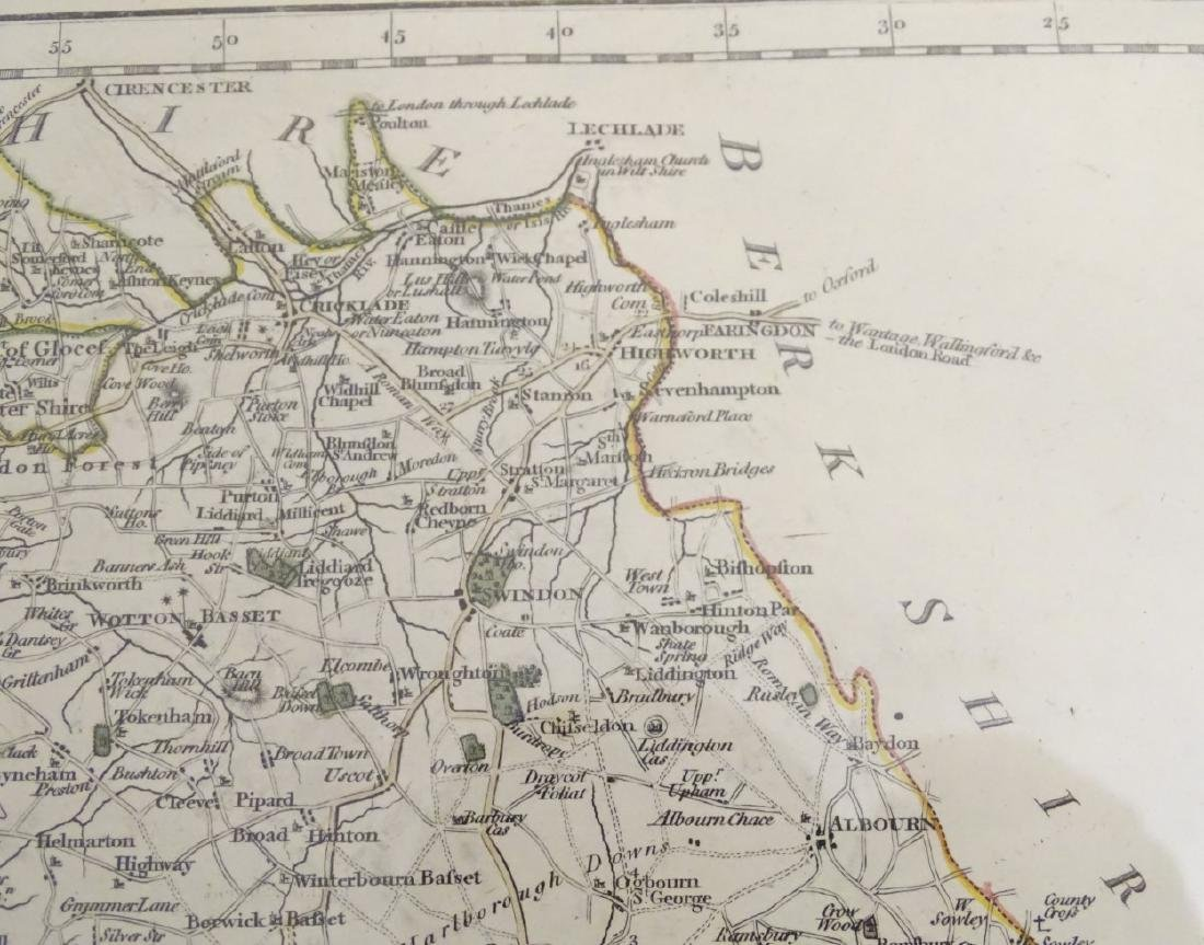 Maps: A framed, hand coloured county map of - 8