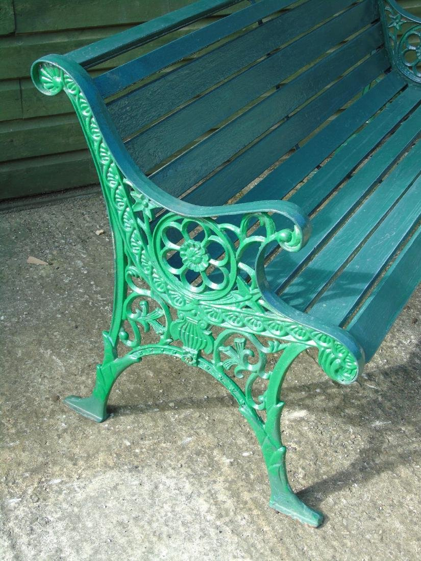 Garden bench : A 2 1/2 seat green painted bench with - 3