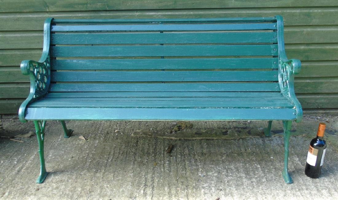 Garden bench : A 2 1/2 seat green painted bench with - 5