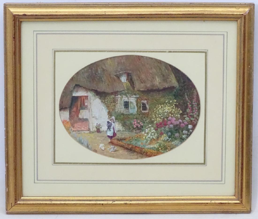 SM, follower of Helen Allingham, Oil on card, an oval,