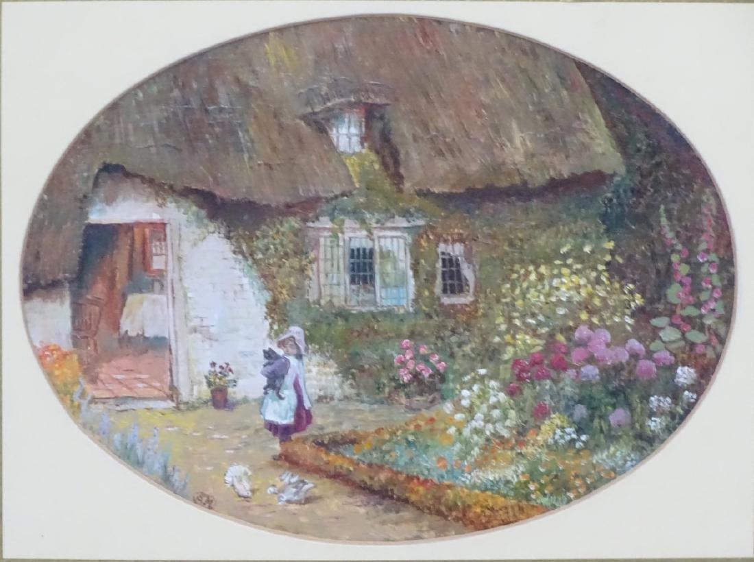 SM, follower of Helen Allingham, Oil on card, an oval, - 4