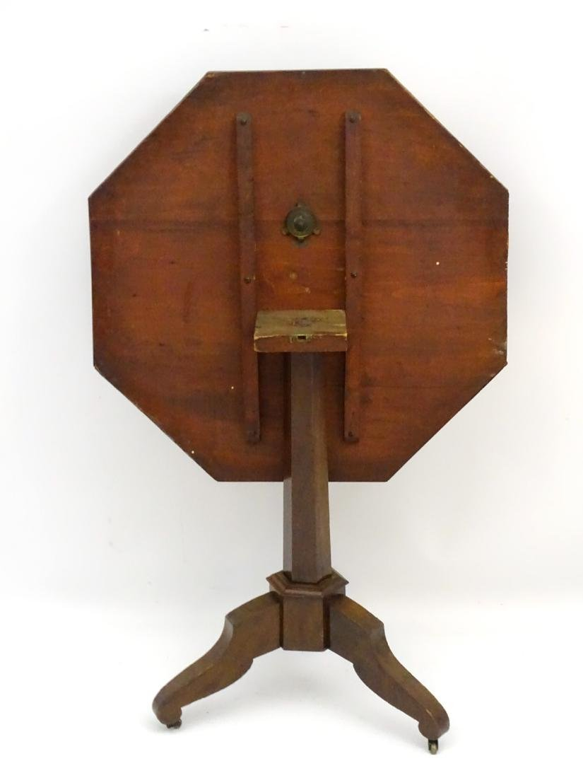 A late 19thC mahogany octagonal tilt top table with - 2