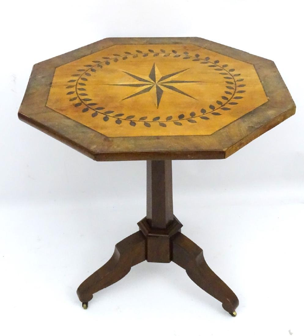 A late 19thC mahogany octagonal tilt top table with - 5