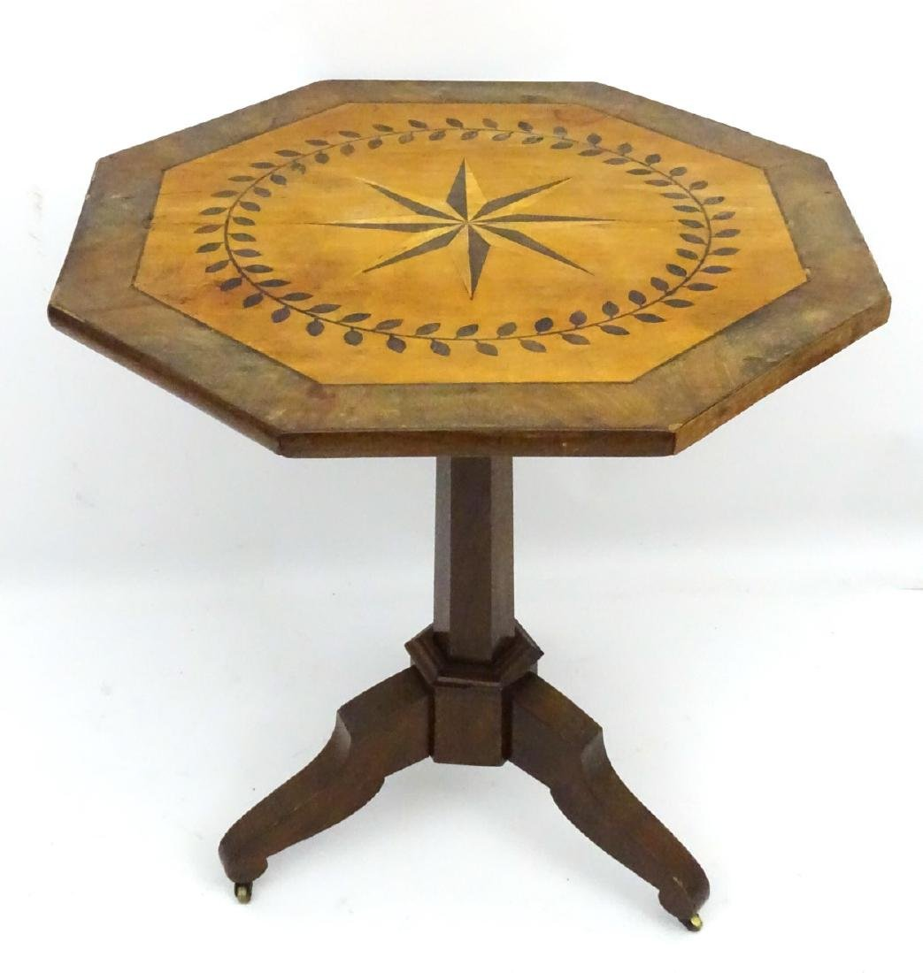 A late 19thC mahogany octagonal tilt top table with - 6