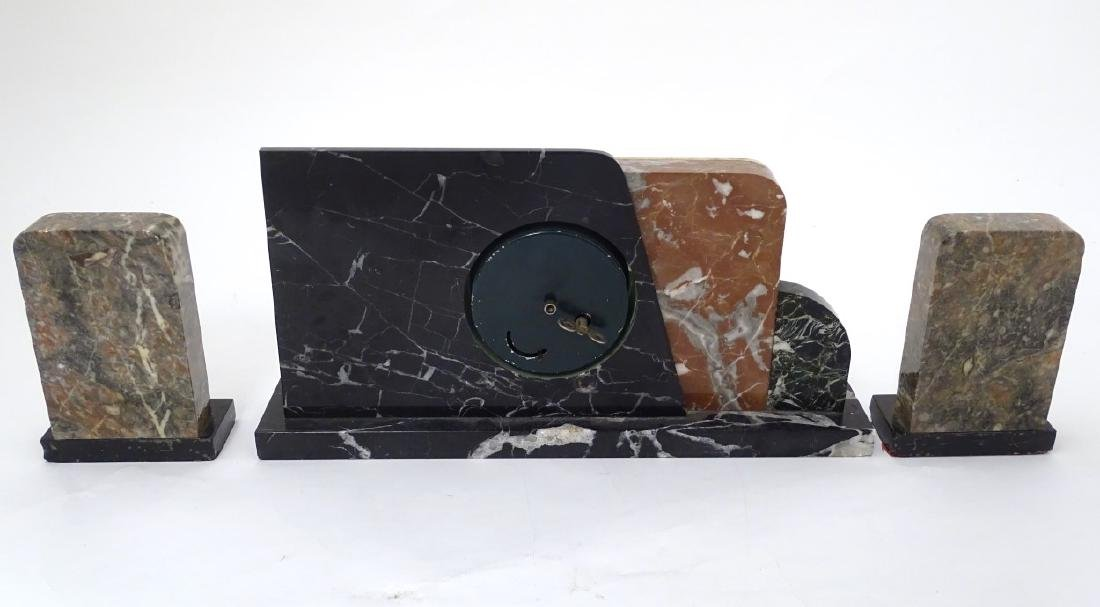 Art Deco Marble Clock : a 7 marble timepiece and - 10