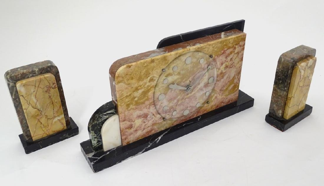 Art Deco Marble Clock : a 7 marble timepiece and - 6