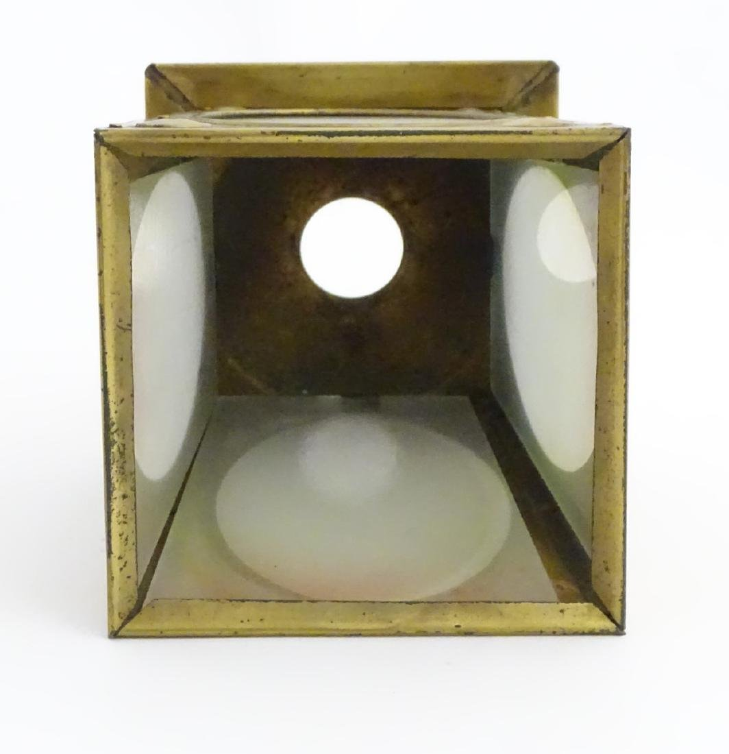 Arts and Crafts: A brass pendant light shade with - 10