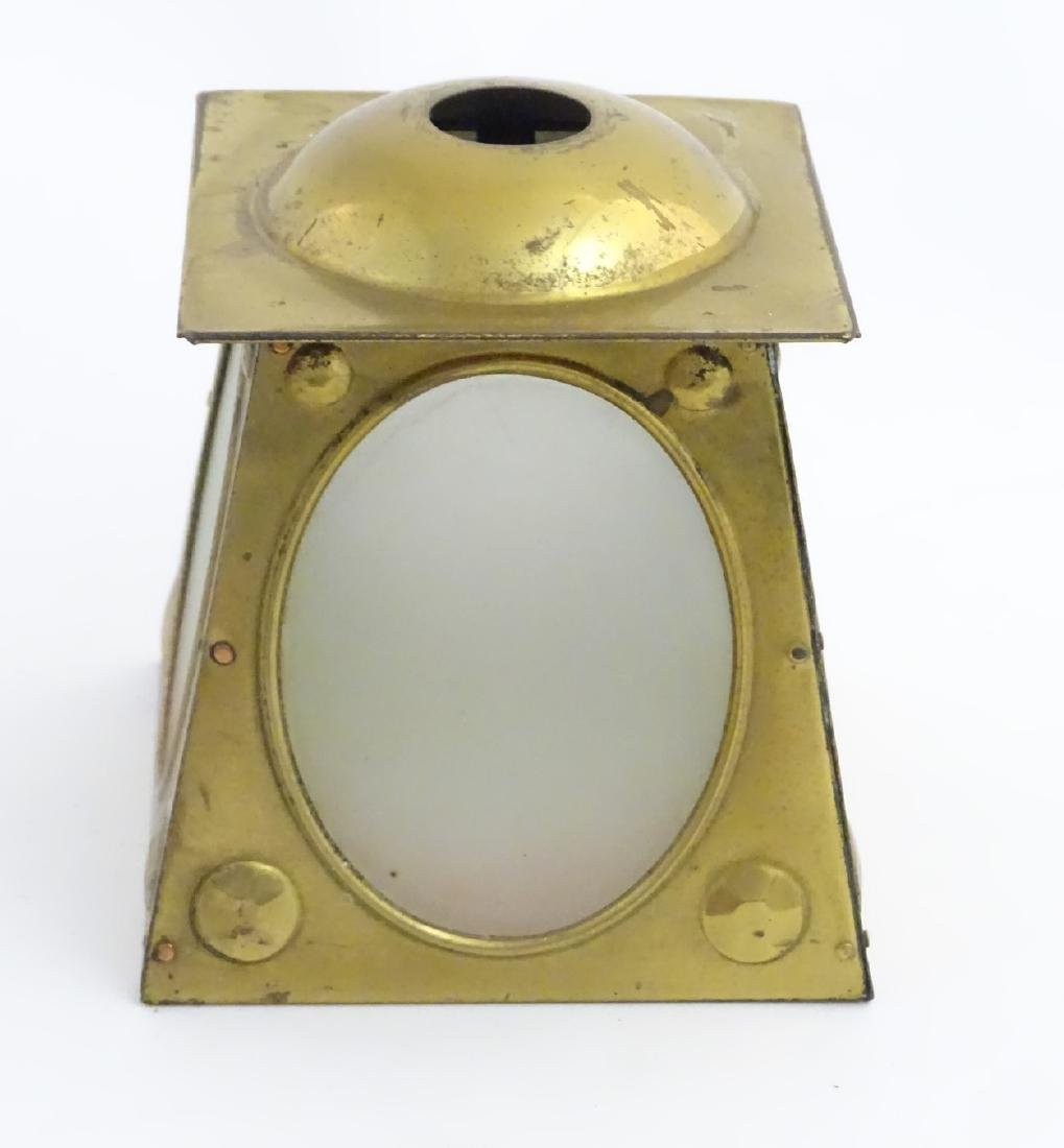 Arts and Crafts: A brass pendant light shade with - 6