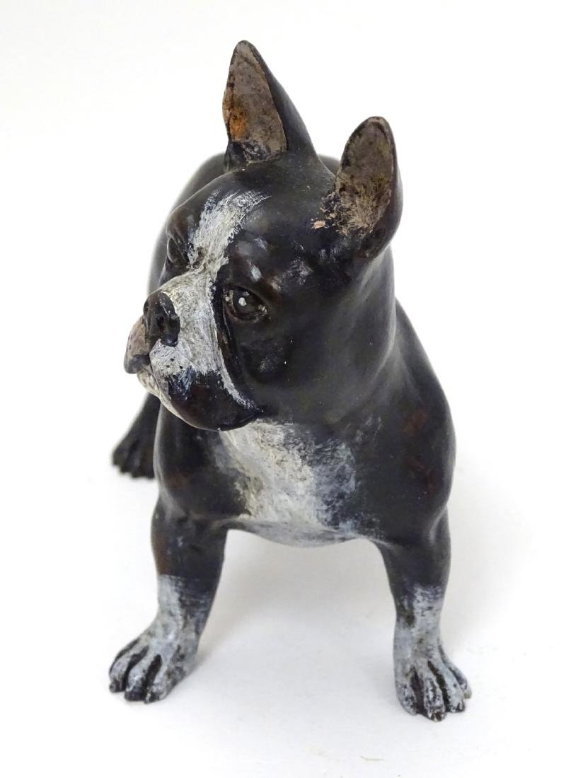 A 21stC cold painted bronze figure of a French bulldog. - 4