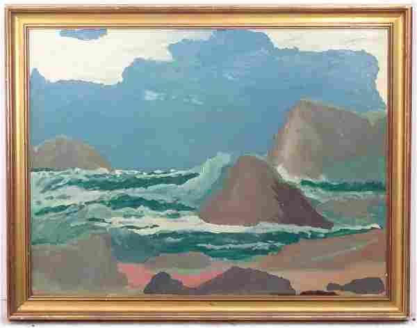 American XIX-XX, Oil on board, 'Rocky Shore', Labelled