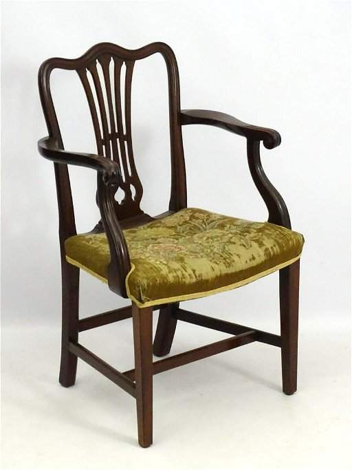 Fantastic A Late 19Thc Mahogany Open Armchair Desk Chair With Ncnpc Chair Design For Home Ncnpcorg