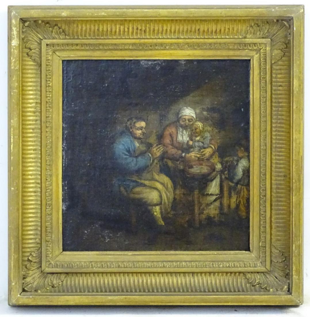 XVIII Flemish School, Oil on fielded oak panel, A