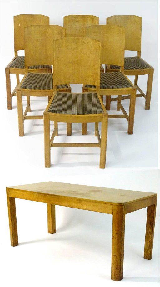 An Art Deco dining table and six matching chairs, of