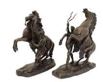 Marley Horsemen a pair of patinated cast bronze