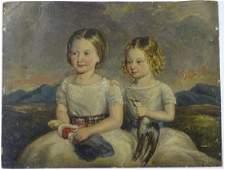 Victorian Scottish Portrait School, Oil on board, Two