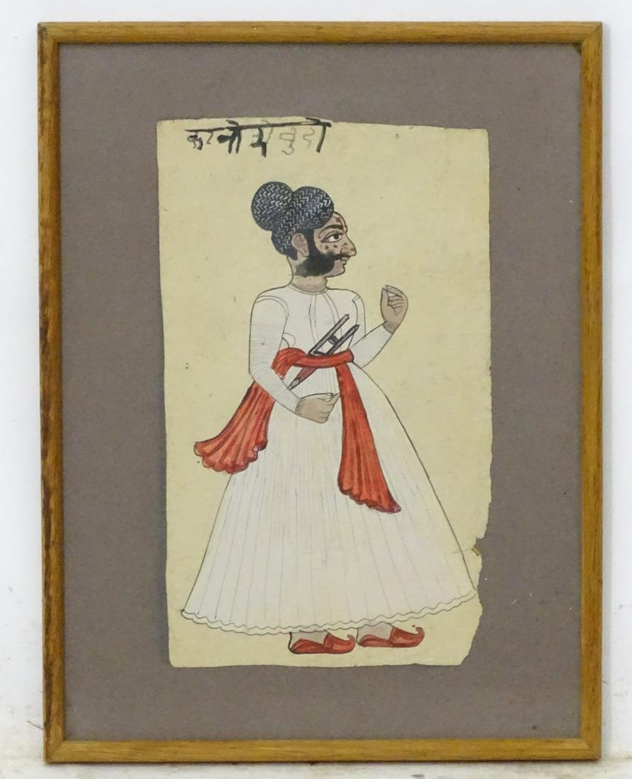 XIX, Indian School, Watercolour, A figure stood with a