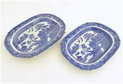 Two blue and white willow pattern meat plates by W