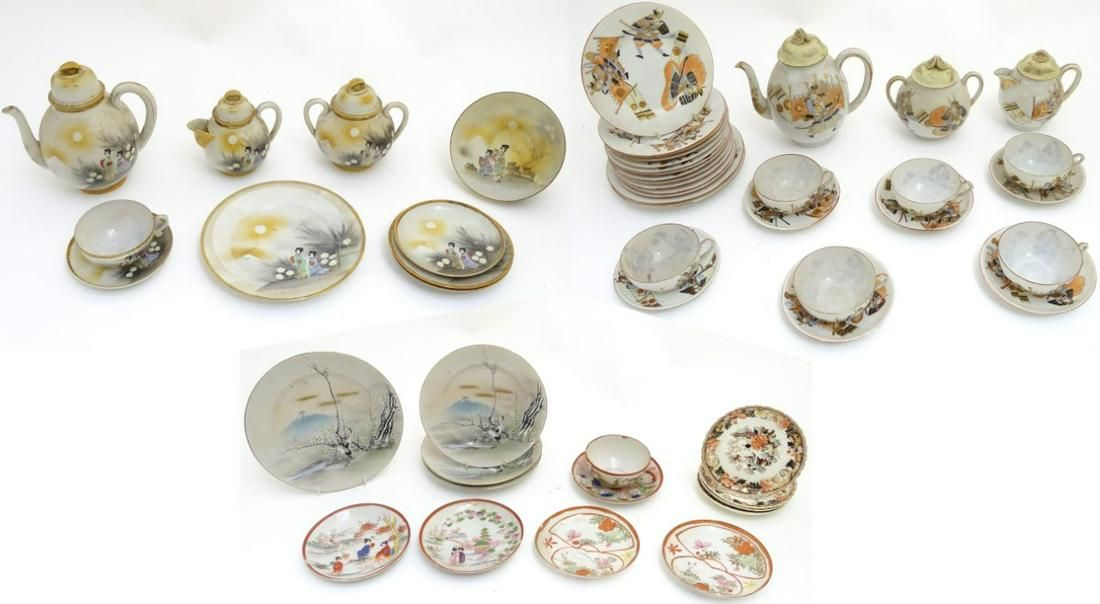 A large quantity of assorted, hand painted Japanese