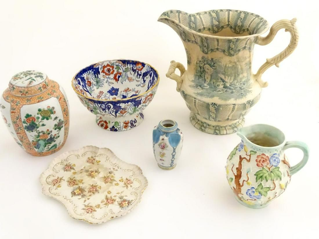 Six assorted ceramics items to include a Chinese ginger