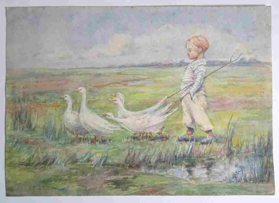 Mid XX, Continental School, Watercolour, A young boy