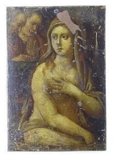 XVII Italian School Oil on copper Susannah and the