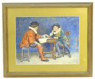 Thomas William Cole XX Watercolour Two gentlemen in