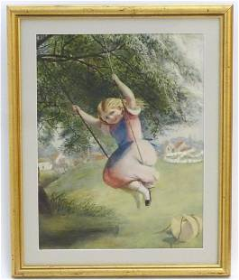 Manner of David Hardy XX Watercolour A young girl