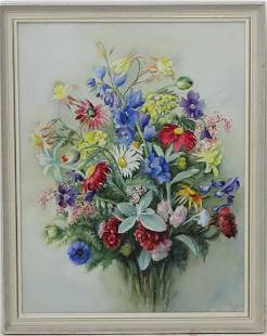 Miss Maud Tod Waddell c 1920 Watercolour Floral