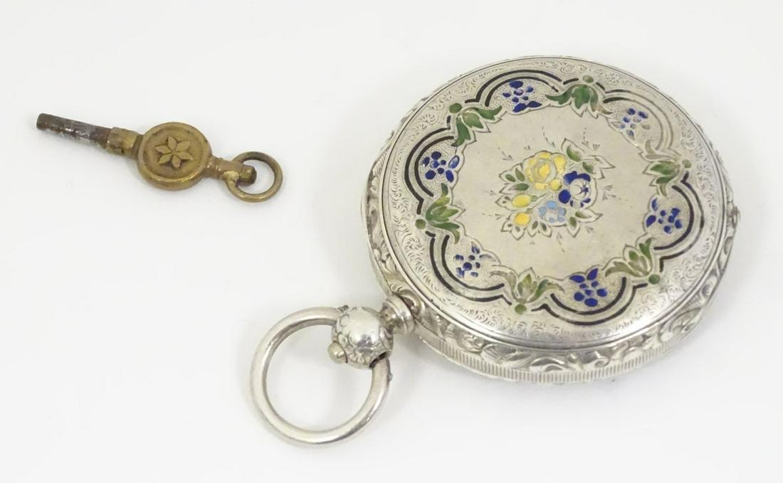 Silver Swiss enamel decorated pocket watch: a key wind
