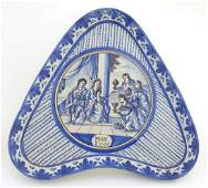 An 18thC blue and white Continental dish of triangular