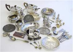 A quantity of assorted silver plate to include Teapots,