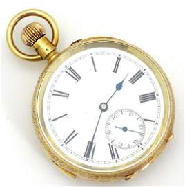 A Swiss 18ct gold cased topwind chiming pocket watch,