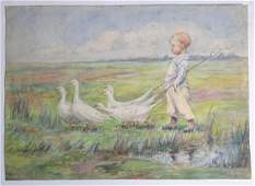 Mid XX Continental School Watercolour A young boy