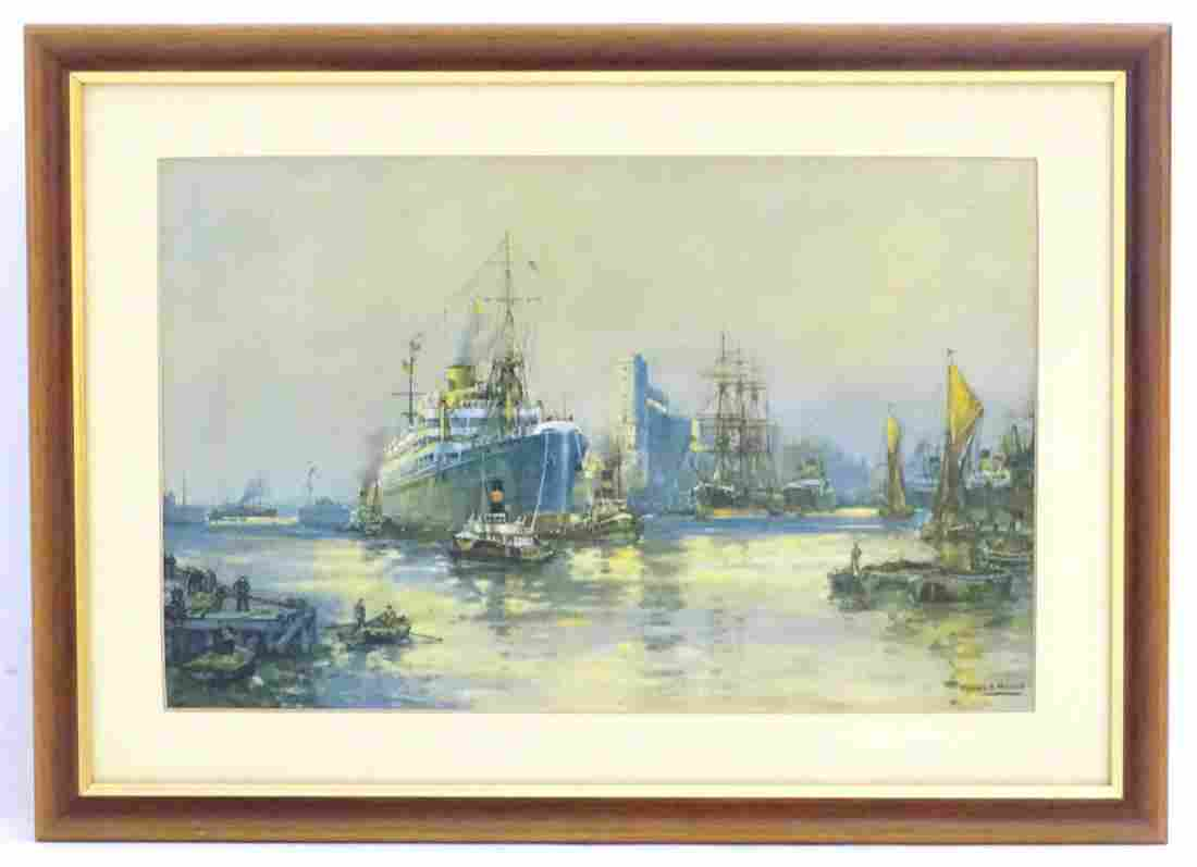 Frank H. Mason, XX, Marine School,  Print,  Docking on