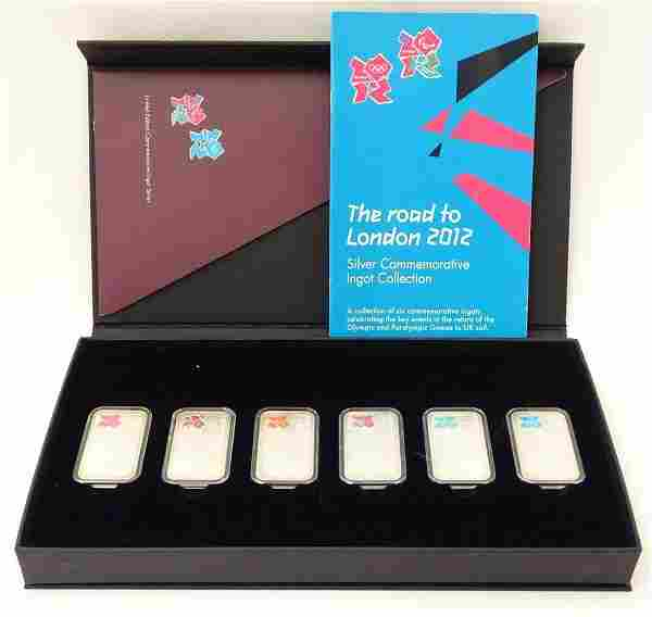 A boxed set of six .999 silver ingots, commemorating